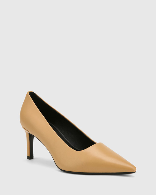 Phoenix Latte Leather Stiletto Heel Pump.