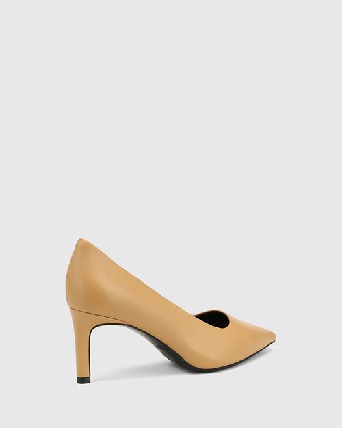 Phoenix Latte Leather Stiletto Heel Pump.