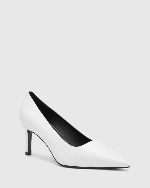 Phoenix White Leather Stiletto Heel Pump.