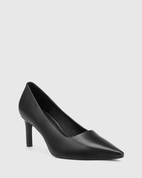 Phoenix Black Leather Stiletto Heel Pump.
