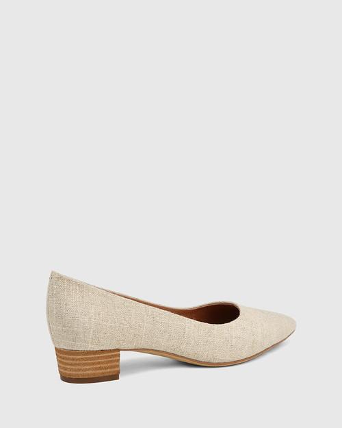 Armin Natural Linen Pointed Toe Low Block Heel. & Wittner & Wittner Shoes