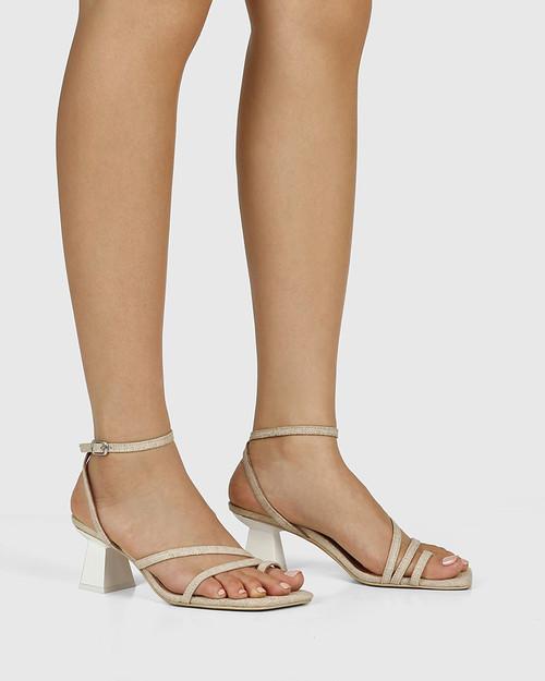 Kaiya Natural Linen Strappy Sculptured Heel Sandal. & Wittner & Wittner Shoes