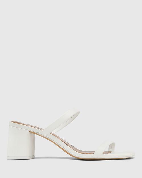 Kourtney White Leather Block Heel Sandal . & Wittner & Wittner Shoes