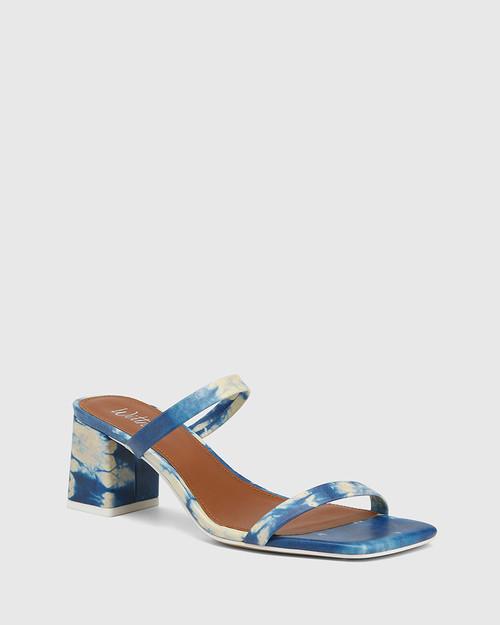 Kourtney Cobalt Blue Tie Dye Leather Block Heel Sandal .