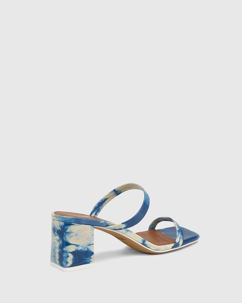 Kourtney Cobalt Blue Tie Dye Leather Block Heel Sandal . & Wittner & Wittner Shoes