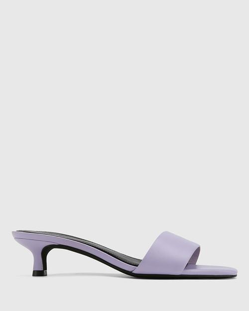 Jamila Lavender Leather Kitten Heel Sandal. & Wittner & Wittner Shoes