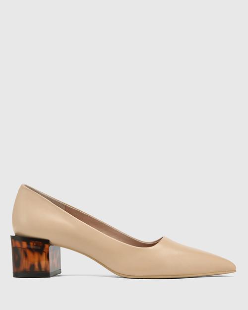 Greece Ecru Leather Tortoiseshell Pattern Heel Pump. & Wittner & Wittner Shoes