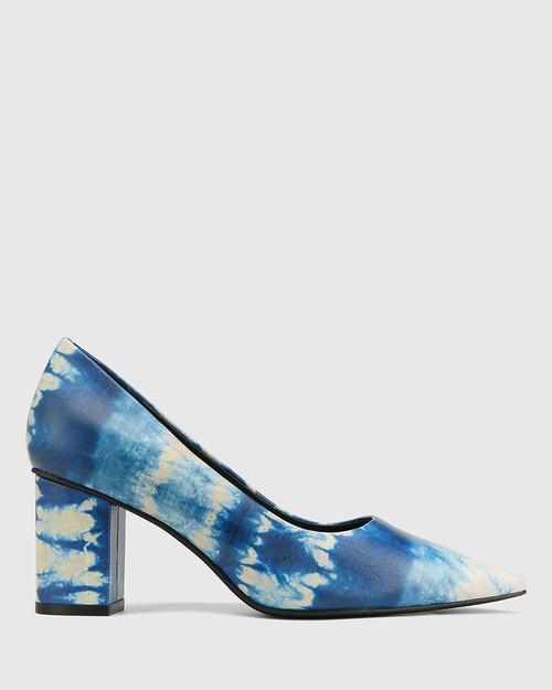 Penrose Cobalt Blue Tie Dye Leather Block Heel Pump. & Wittner & Wittner Shoes