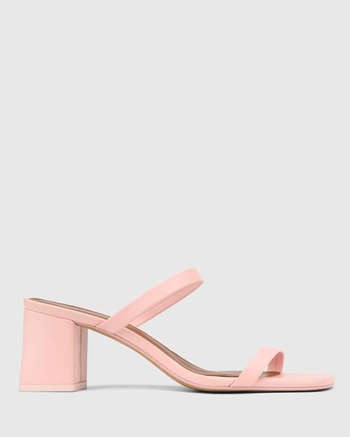 Kourtney Bubblegum Pink Leather Block Heel Sandal . & Wittner & Wittner Shoes