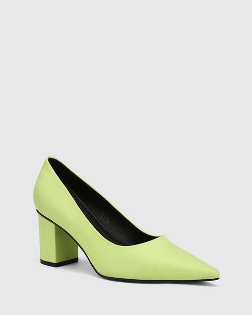 Penrose Fluro Green Leather Block Heel Pump.