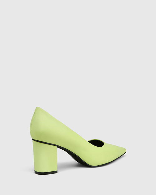 Penrose Fluro Green Leather Block Heel Pump. & Wittner & Wittner Shoes
