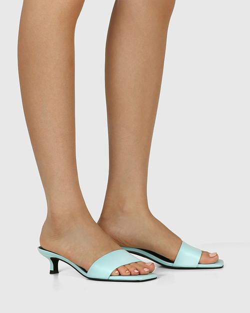 Jamila Baby Blue Leather Kitten Heel Sandal. & Wittner & Wittner Shoes