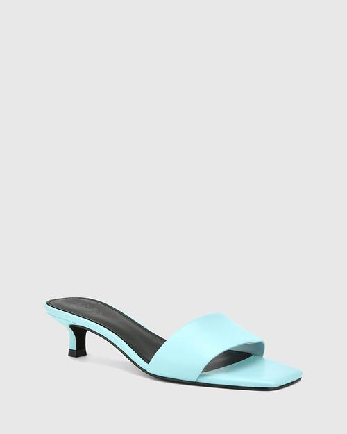 Jamila Baby Blue Leather Kitten Heel Sandal.