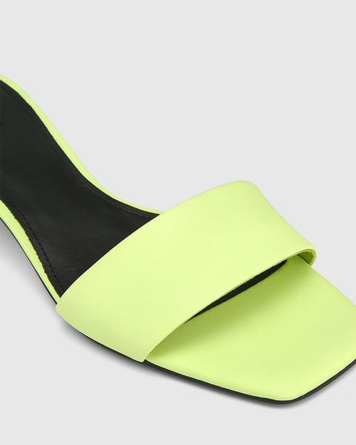 Jamila Fluro Green Leather Kitten Heel Sandal. & Wittner & Wittner Shoes