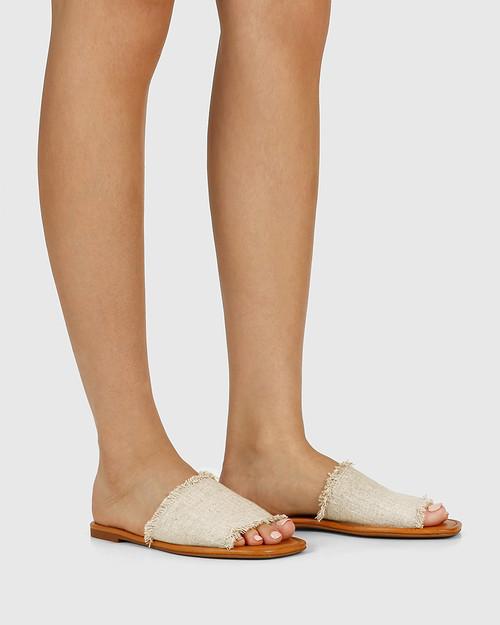 Barron Natural Linen Flat Slide. & Wittner & Wittner Shoes