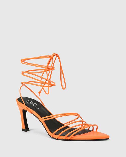 Raelynn Fluro Orange Leather Strappy Sandal.