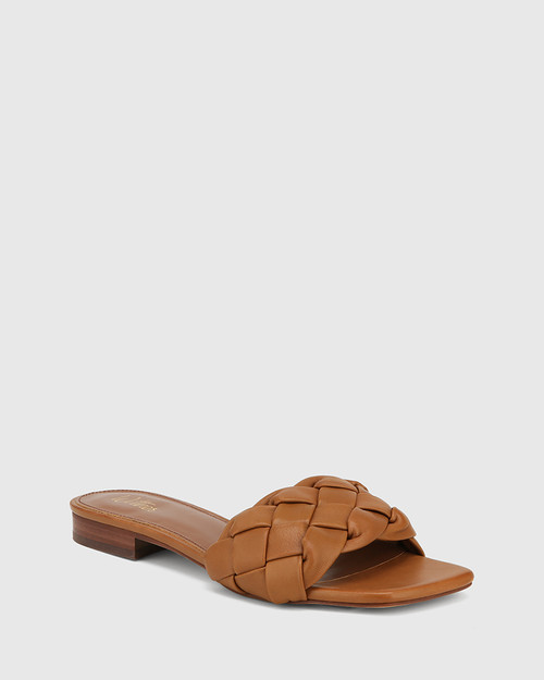 Artica Tan Woven Leather Flat Slide.