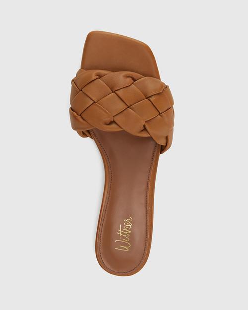 Artica Tan Woven Leather Flat Slide. & Wittner & Wittner Shoes