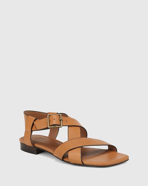 Aneese Tan Leather Flat Sandal.