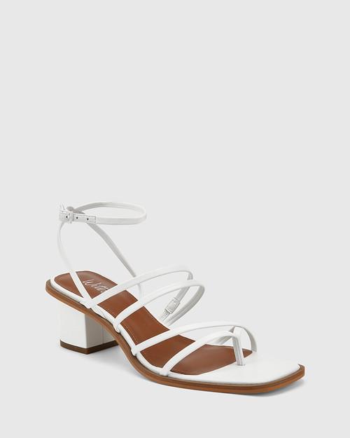 Jayson White Leather Strappy Block Heel Sandal.