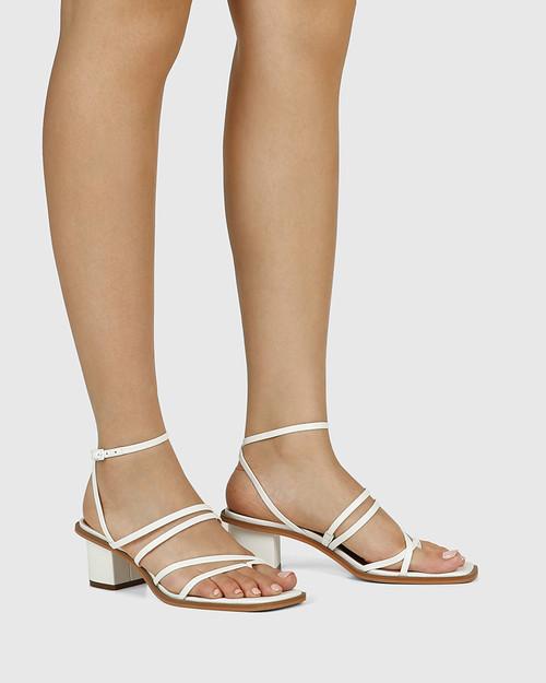 Jayson White Leather Strappy Block Heel Sandal. & Wittner & Wittner Shoes
