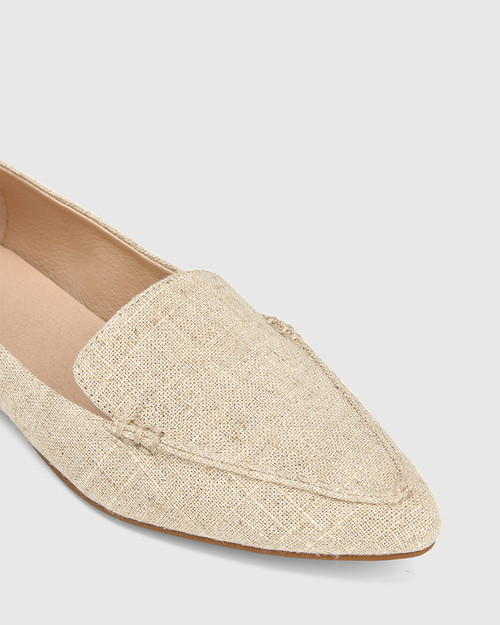 Pamina Natural Linen Pointed Toe Loafer. & Wittner & Wittner Shoes