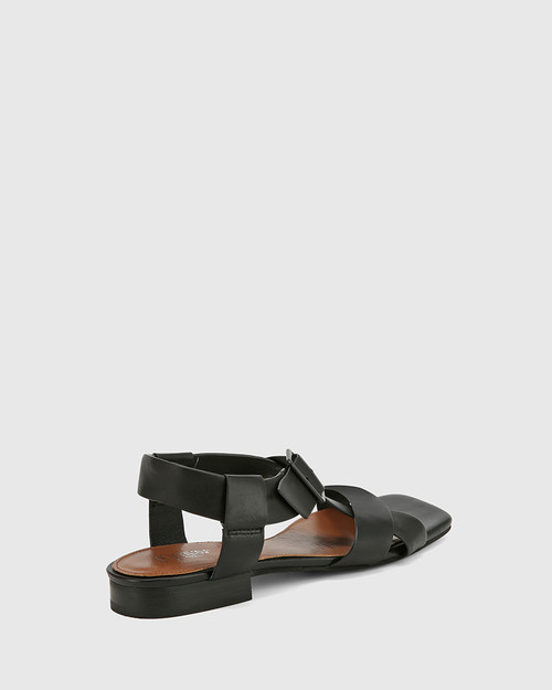 Aneese Black Leather Flat Sandal.