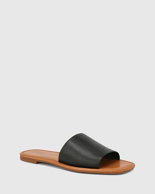 Barron Black Leather Flat Slide.