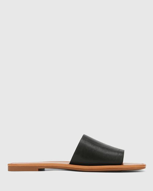 Barron Black Leather Flat Slide. & Wittner & Wittner Shoes