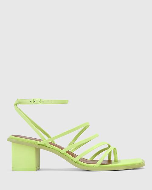 Jayson Fluro Green Leather Strappy Block Heel Sandal.