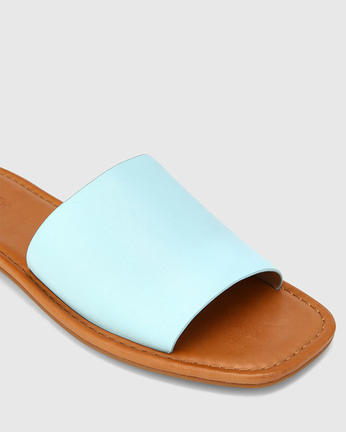 Barron Baby Blue Leather Flat Slide. & Wittner & Wittner Shoes