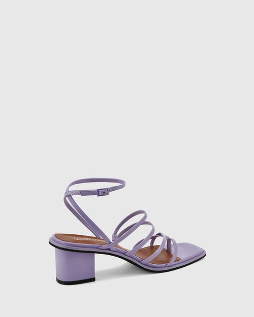 Jayson Lavender Leather Strappy Block Heel Sandal.