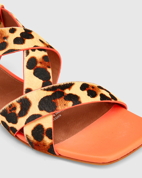 Aneese Leopard Print Hair-on Leather Flat Sandal.