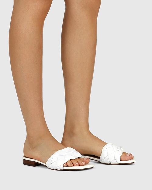 Artica White Woven Leather Flat Slide. & Wittner & Wittner Shoes