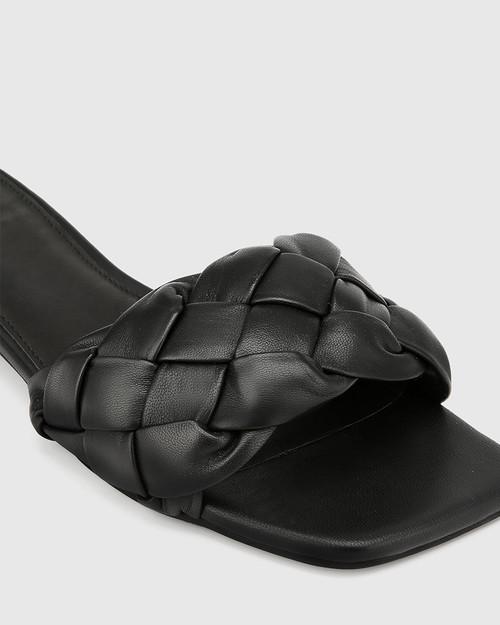 Artica Black Woven Leather Flat Slide.