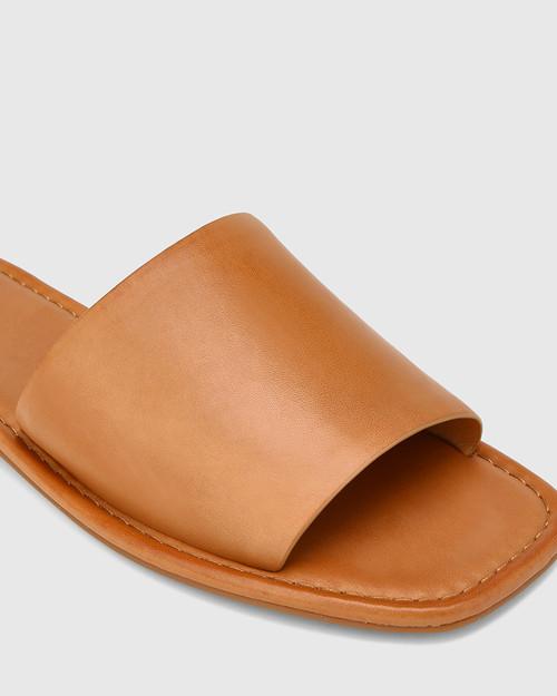 Barron Tan Leather Flat Slide. & Wittner & Wittner Shoes
