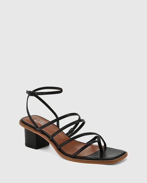 Jayson Black Leather Strappy Block Heel Sandal.