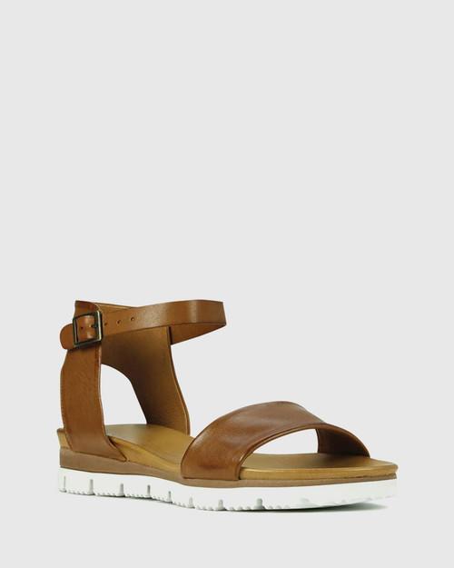 Soda Brandy Leather Ankle Strap Wedge Sandal.
