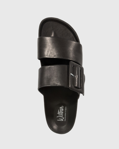 Gina Black Leather Double Strap Cork Slide.