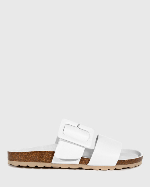 Gina White Leather Double Strap Slide.