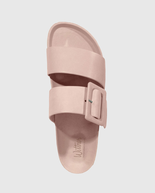 Gina Nude Leather Double Strap Slide. & Wittner & Wittner Shoes