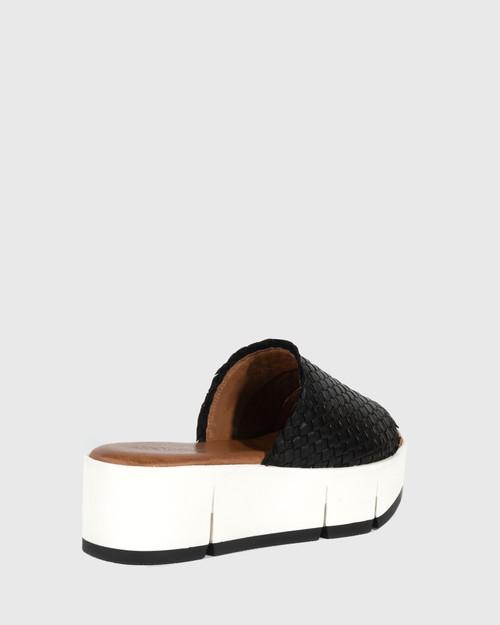 Pallis Black Woven Leather Flatform Slide.