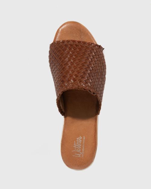 Pallis Brandy Woven Leather Flatform Slide.
