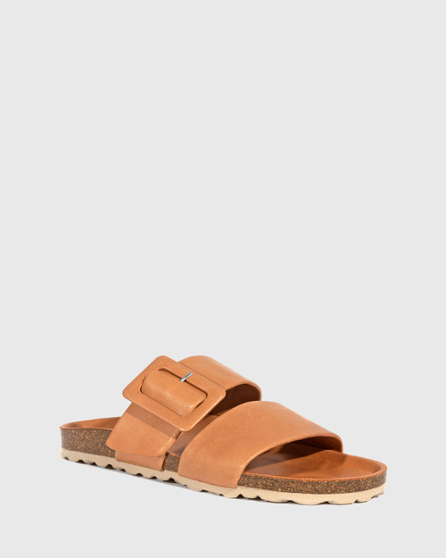 Gina Ginger Brandy Leather Double Strap Slide.
