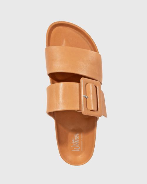 Gina Ginger Brandy Leather Double Strap Slide. & Wittner & Wittner Shoes