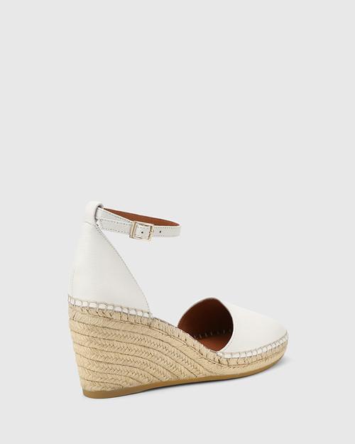 Zaylee White Leather Wedge Heel Espadrille .