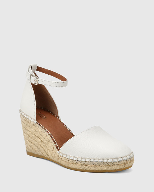 Zaylee White Leather Wedge Heel Espadrille