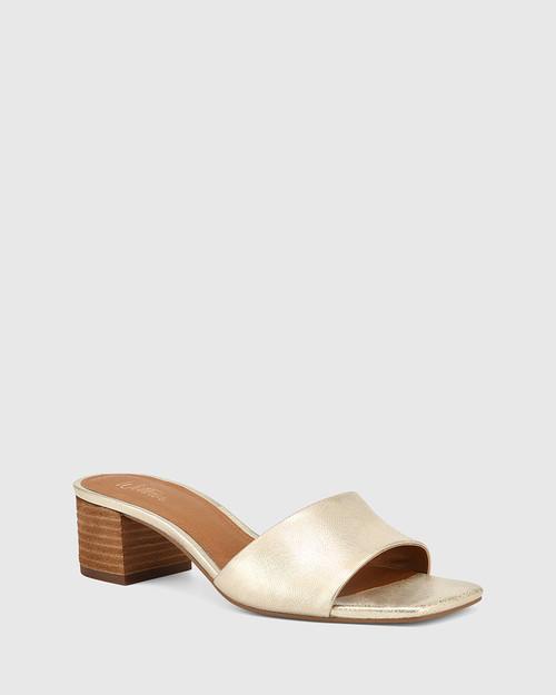 Ginnie Pearl Gold Metallic Leather Block Heel Sandal.