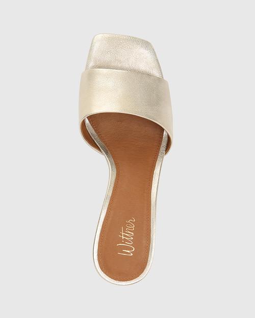 Ginnie Pearl Gold Metallic Leather Block Heel Sandal. & Wittner & Wittner Shoes