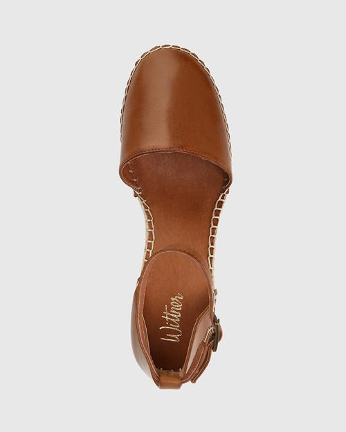Zaylee Dark Cognac Leather Wedge Heel Espadrille .